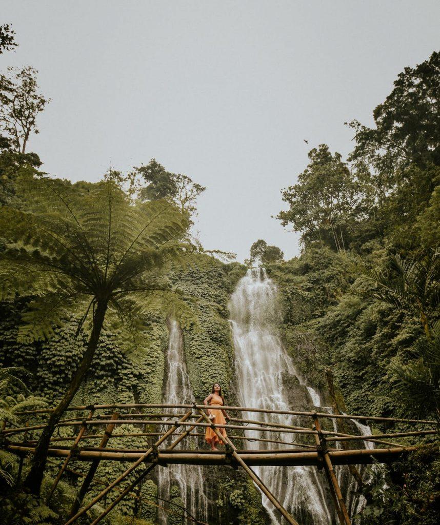 woman at chihuahua waterfalls